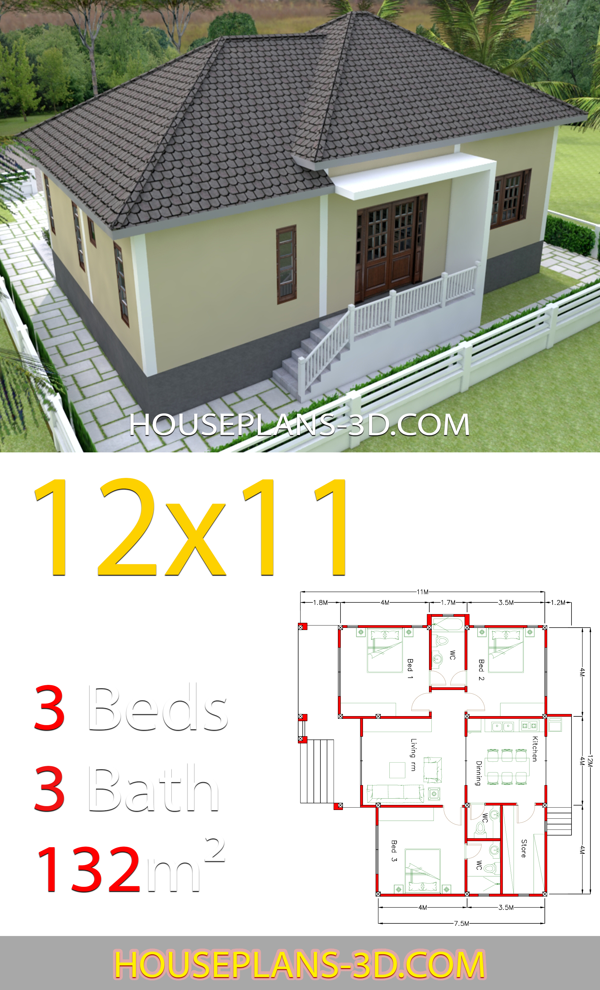 home design 12x11 with 3 bedrooms hip roof house plans 3d