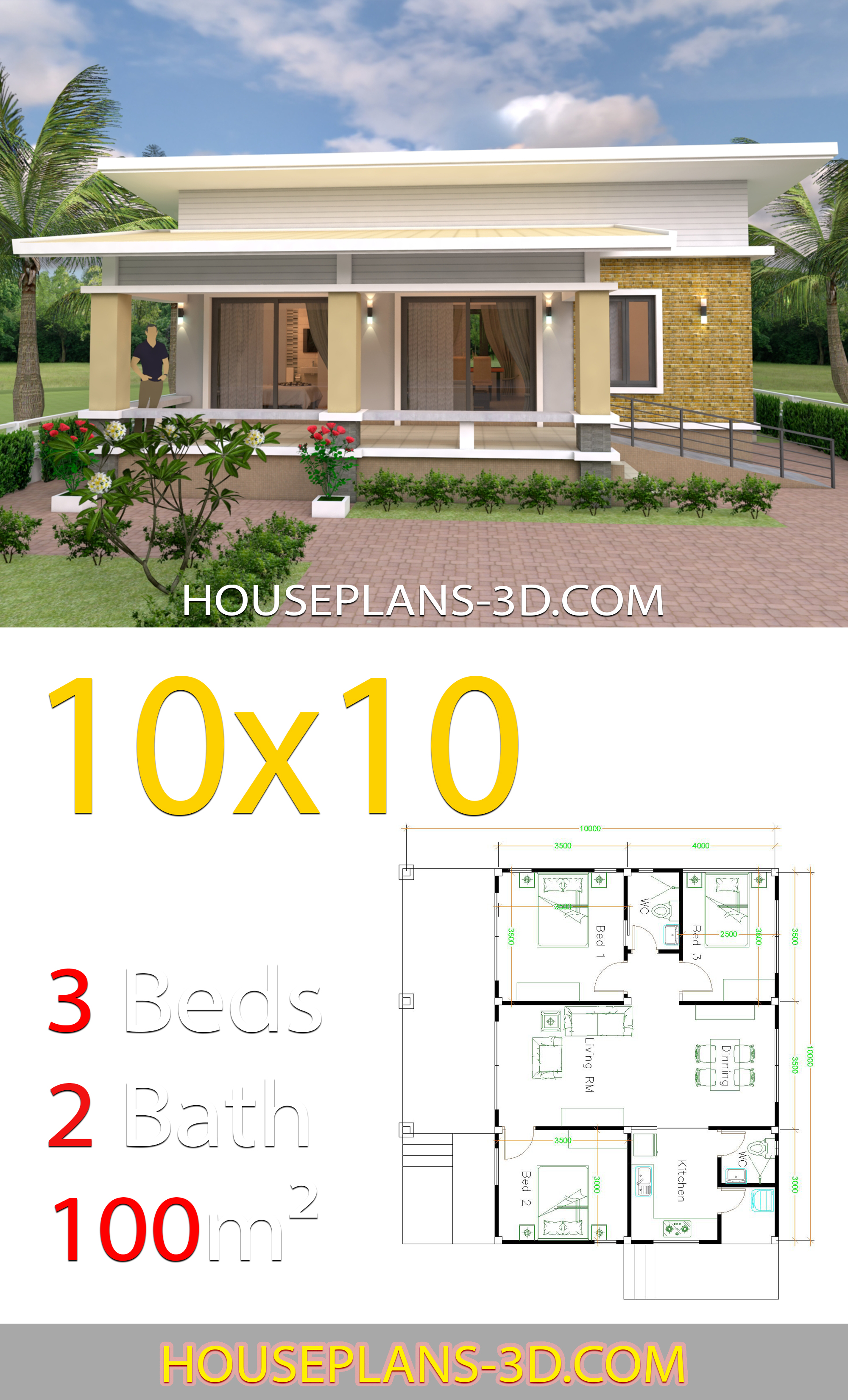 10x10 Room Design: House Design 10x10 With 3 Bedrooms Full Interior