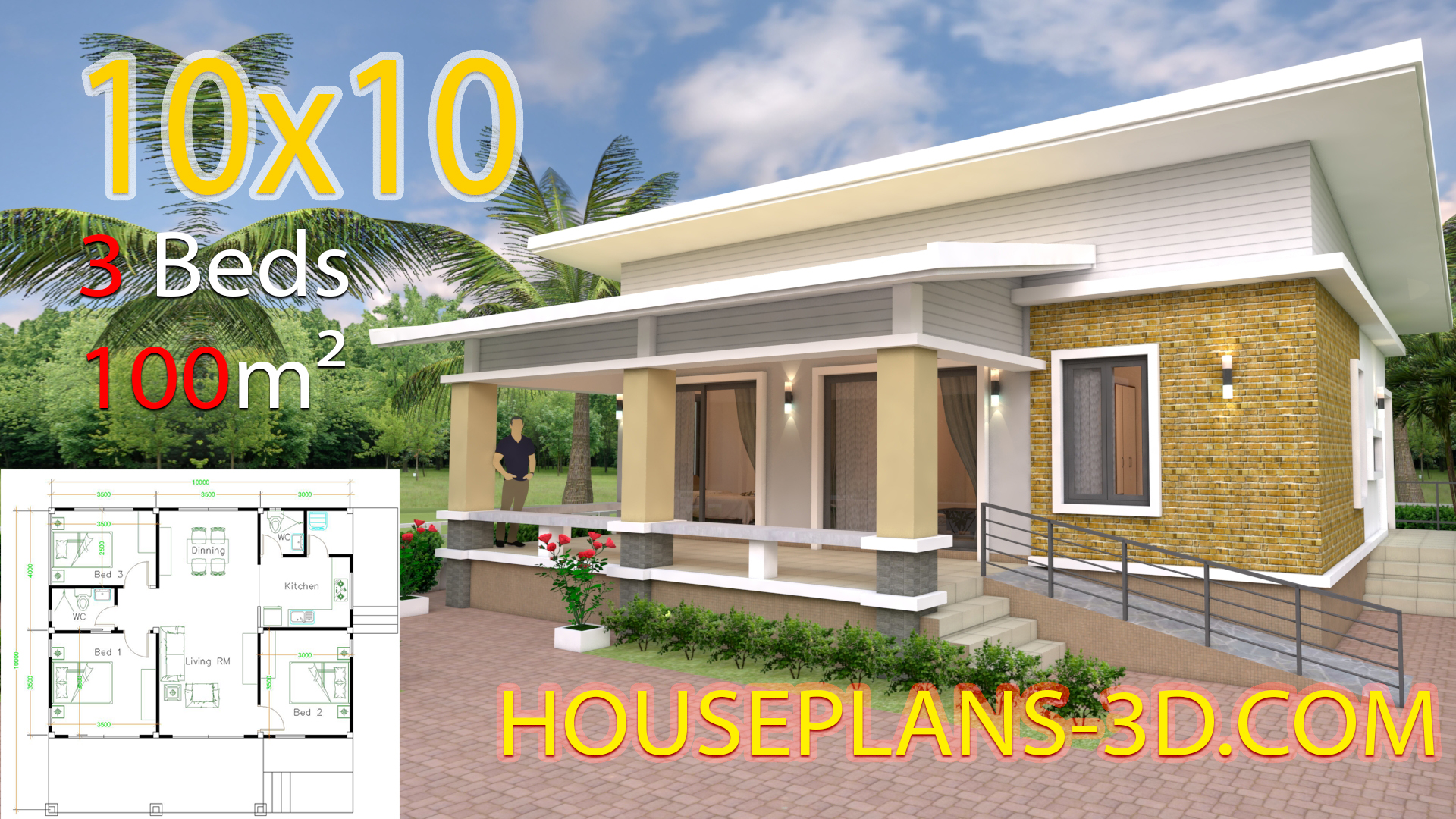 House Design 10x10 With 3 Bedrooms Full Interior House Plans 3d