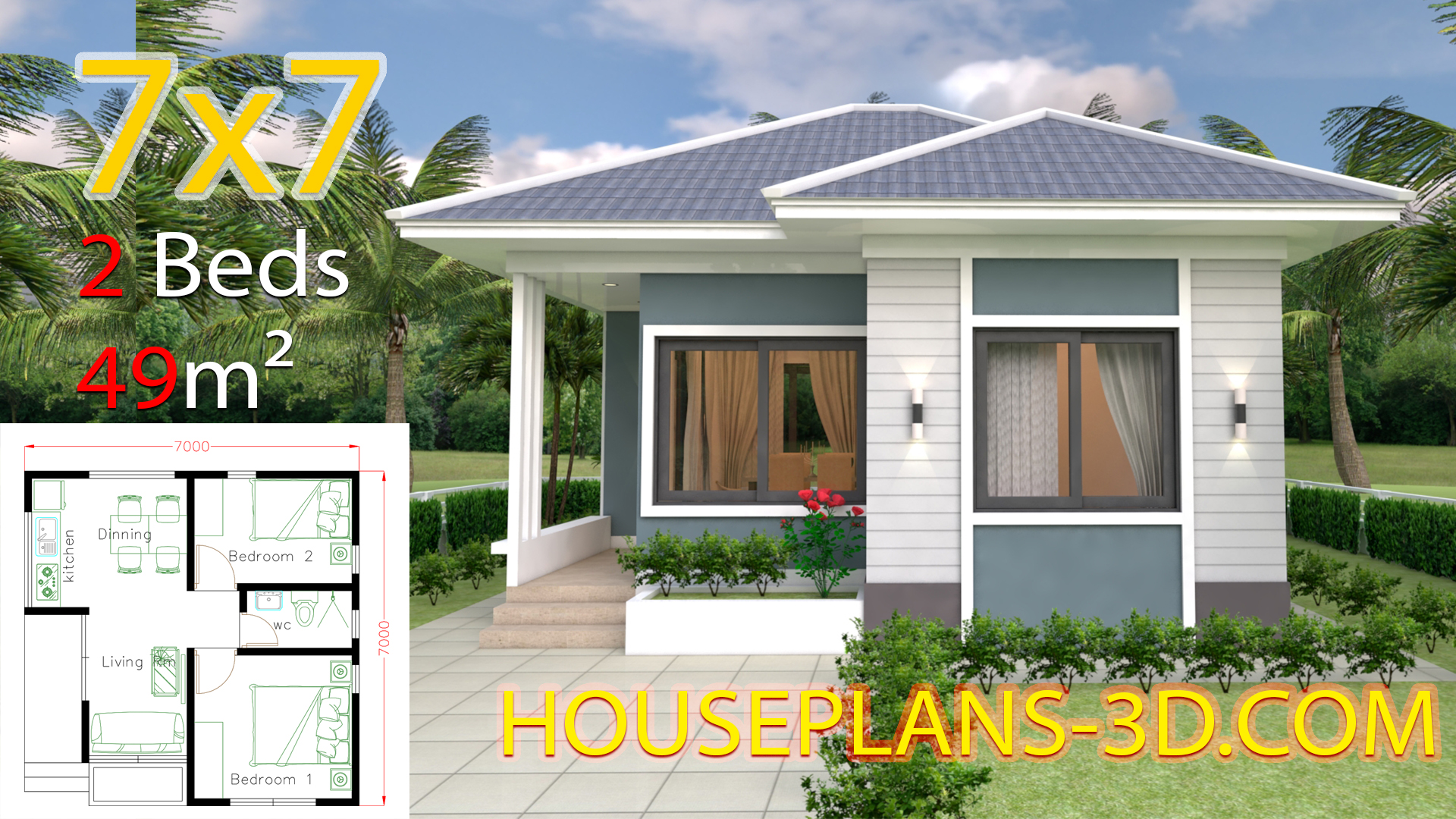 House Design 7x7 with 2 Bedrooms full plans - House Plans 3D