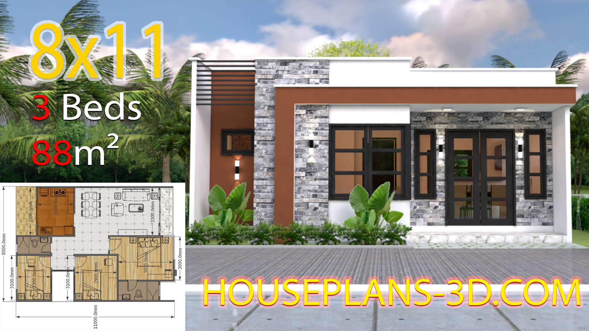House Design 8x11 with 3 Bedrooms Full Plans - House Plans 3D