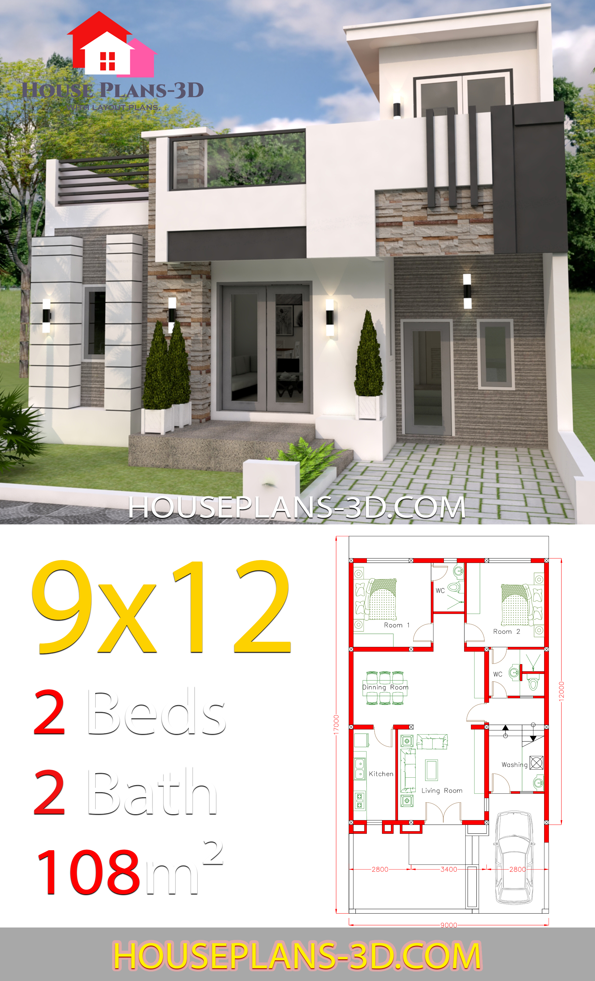 10 X 12 Bedroom Design: House Design 9x12 With 2 Bedrooms Full Plans