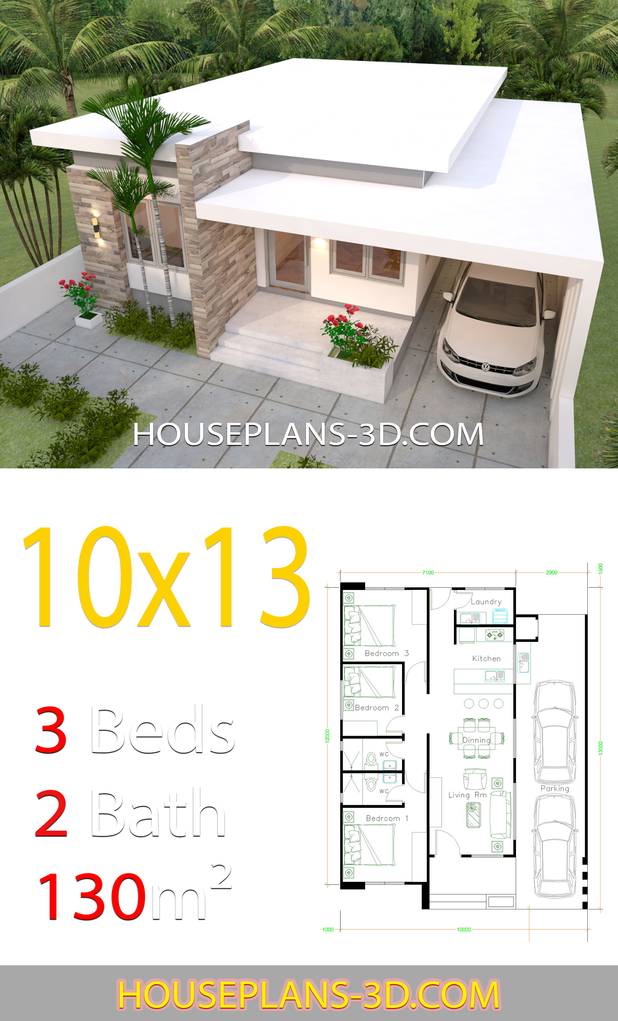 House Design 10x13 with 3 Bedrooms Full Plans - House Plans 3D