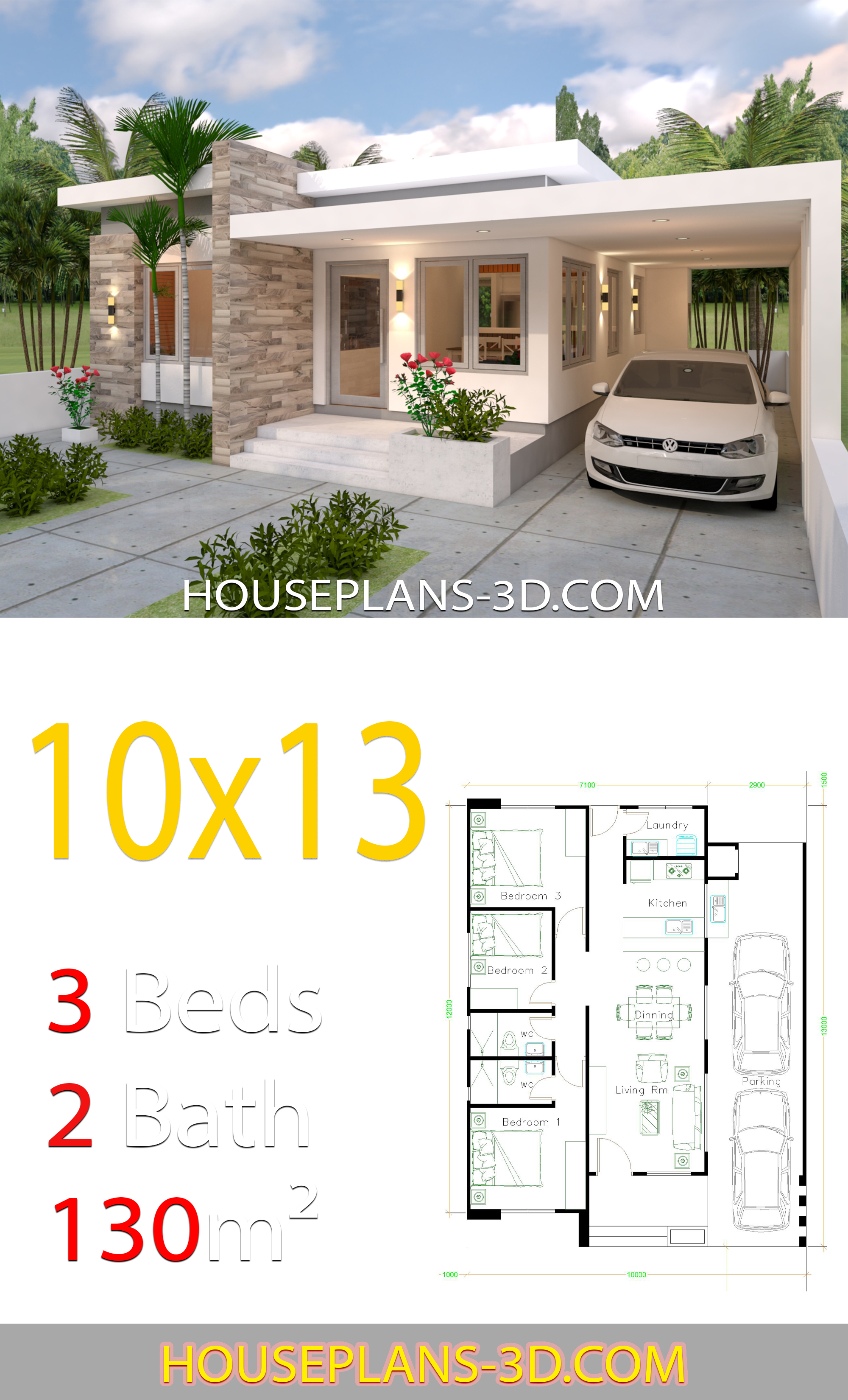 House Design 10x13 With 3 Bedrooms Full
