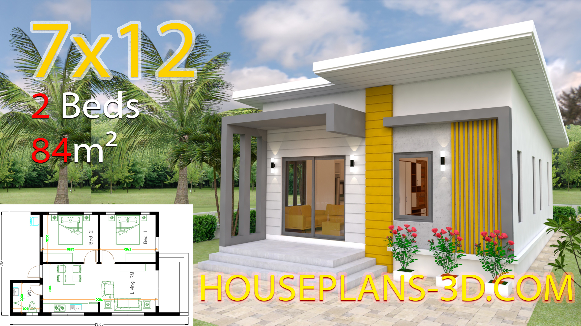 House Design Plans 7x12 with 2 Bedrooms Full Plans - House Plans 3D