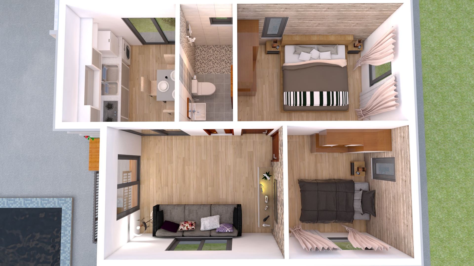 House Design 6x8 with 2 Bedrooms Hip roof
