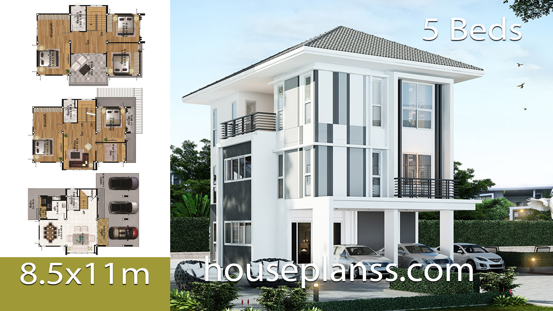 House Plans design Idea 8.5×11 with 5 Bedrooms