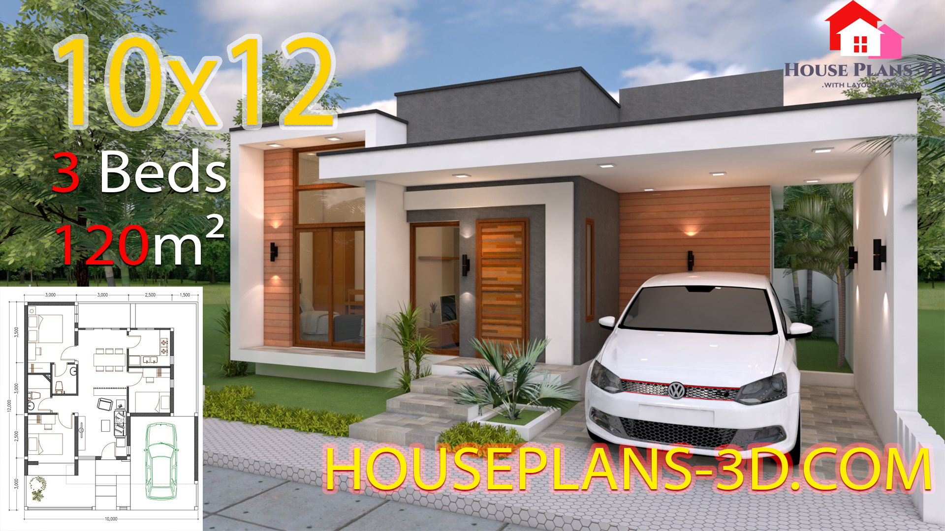 House design 10x12 with 3 Bedrooms Terrace Roof - House Plans 3D