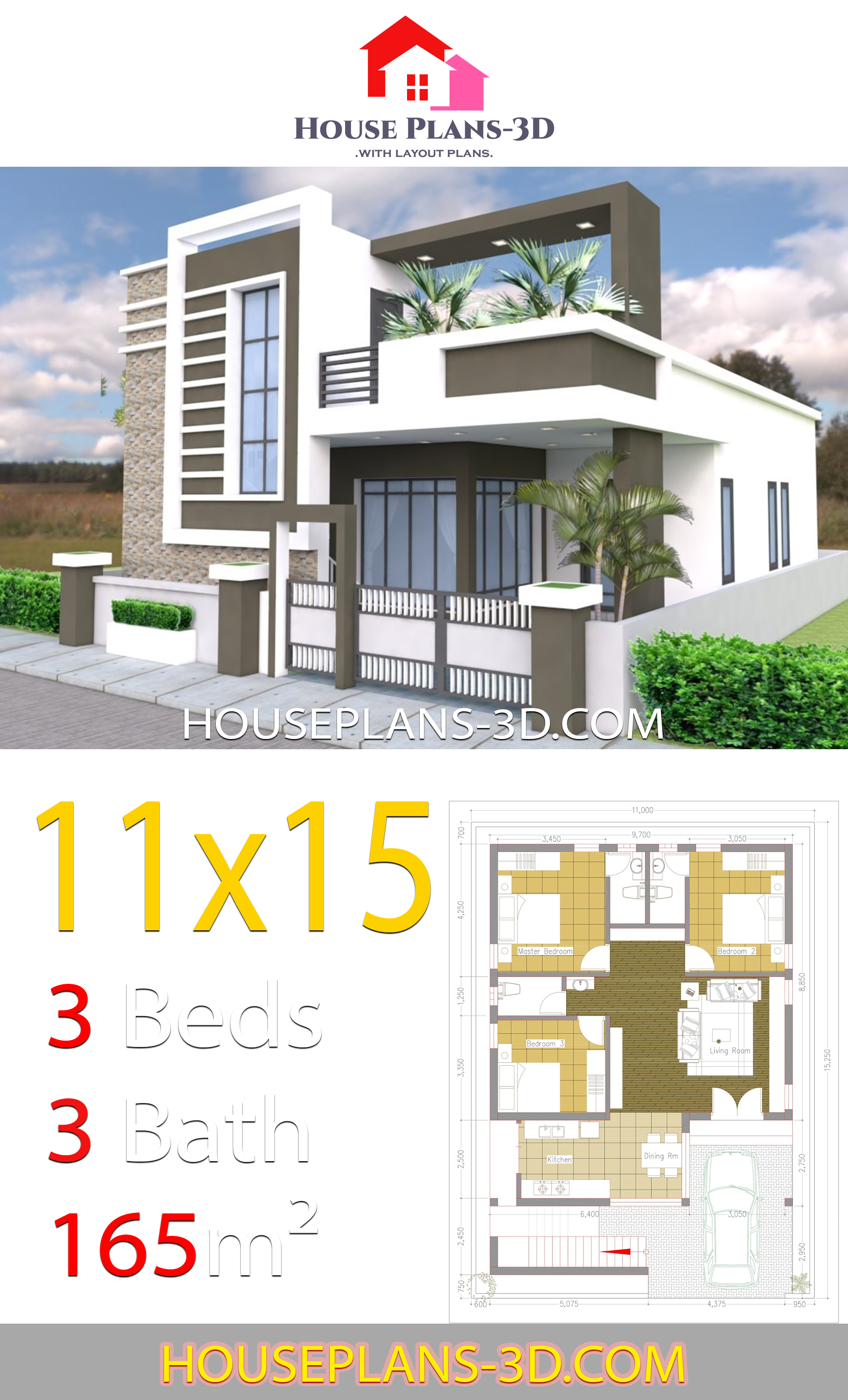 My 3d Room Design: House Design 11x15 With 3 Bedrooms Terrace Roof