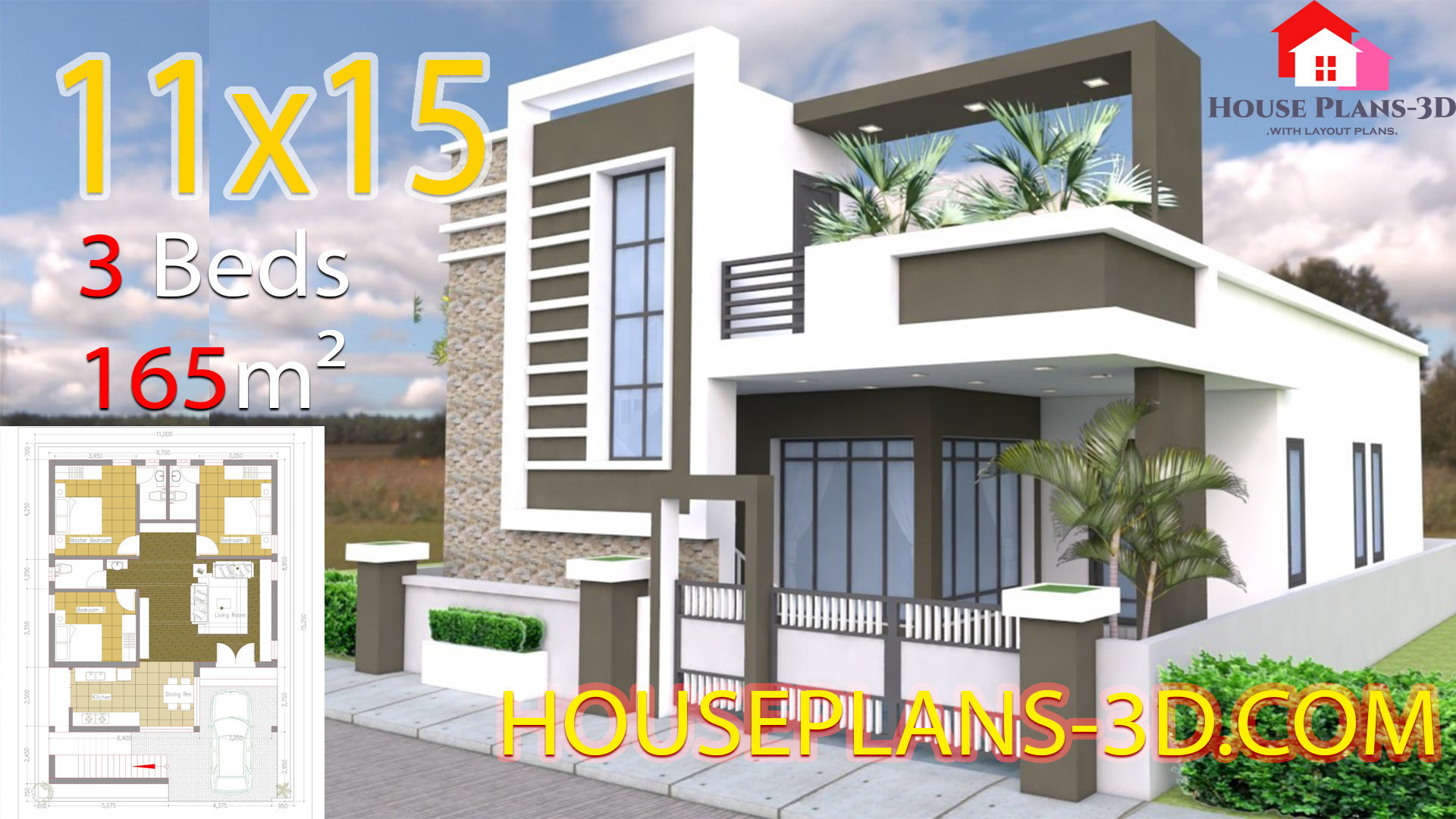 House Design 11x15 With 3 Bedrooms Terrace Roof House Plans S