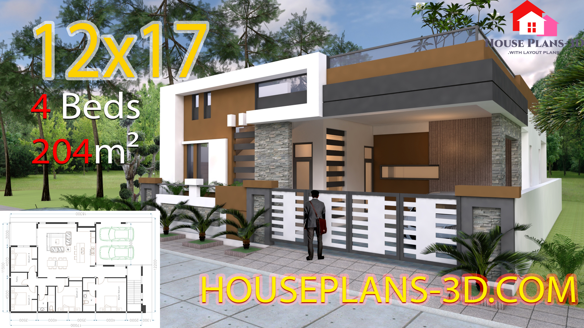 House Design 12x17 With 4 Bedrooms Terrace Roof House Plans 3d