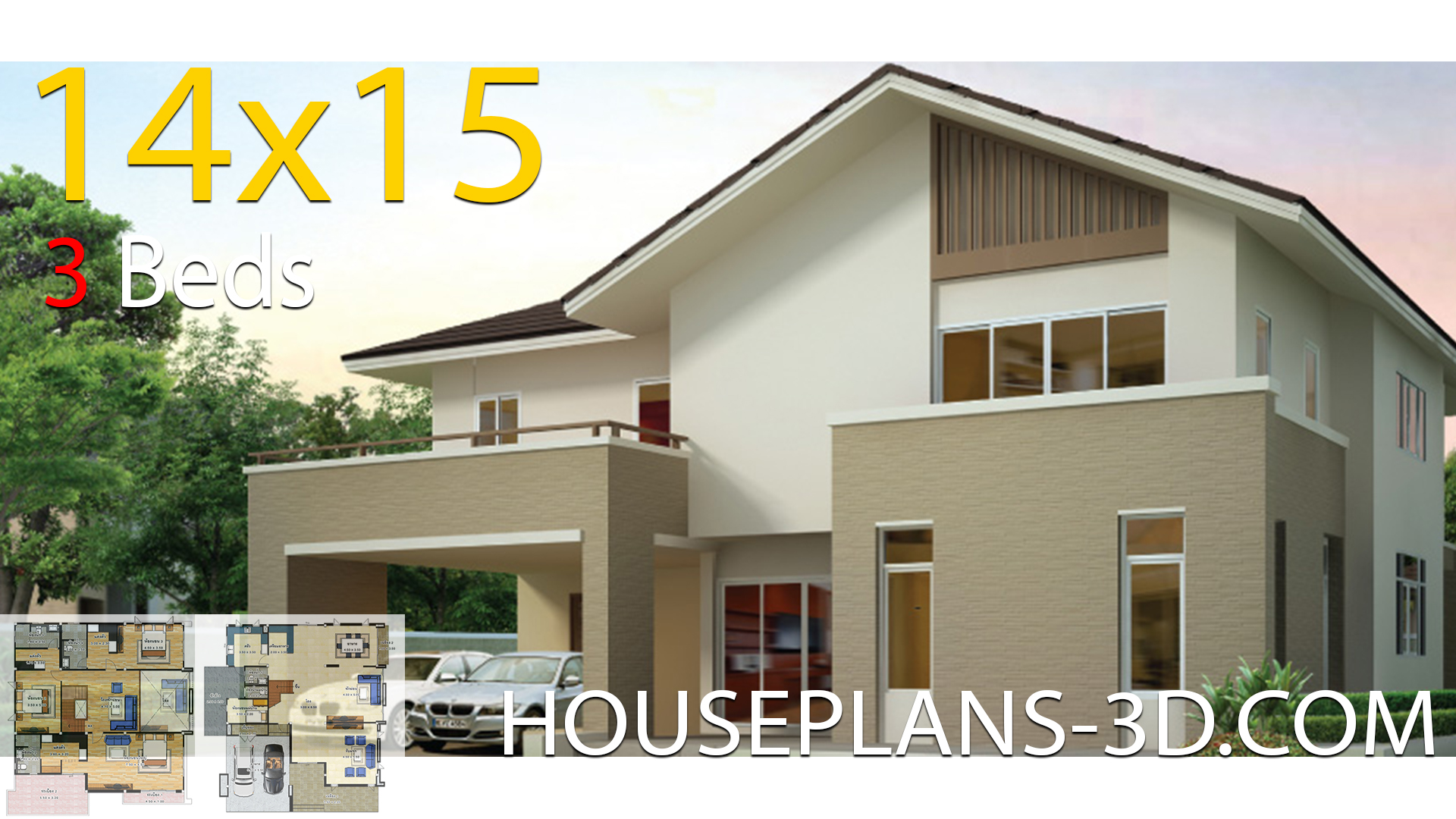 House design 14×15 with 3 bedrooms