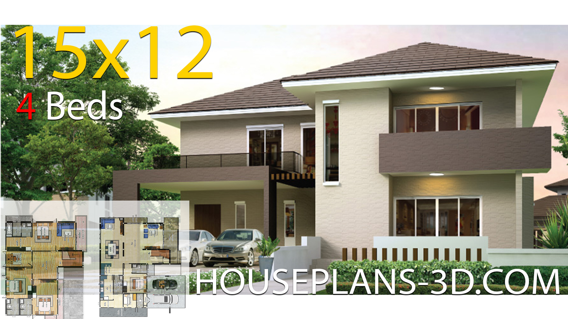 House design 15×12 with 4 bedrooms