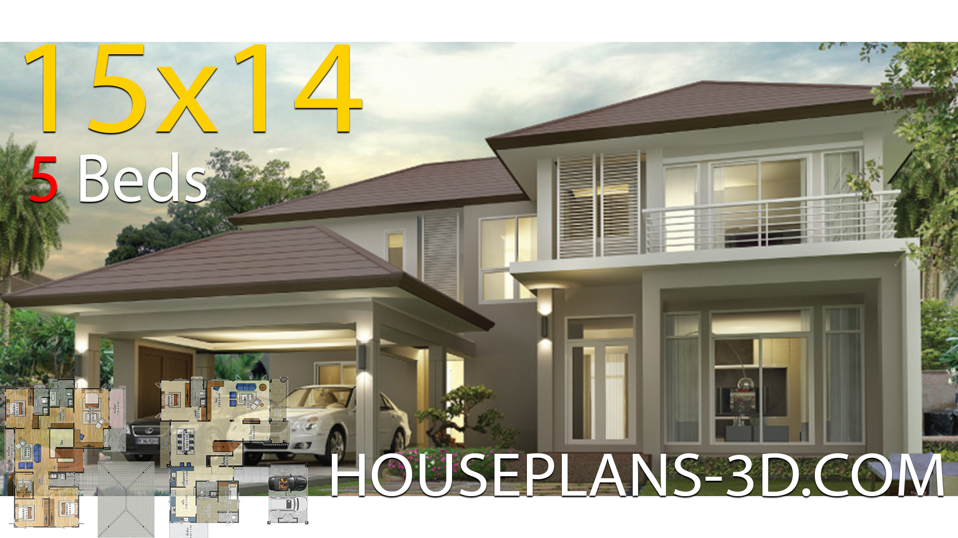 House design 15×14 with 5 bedrooms