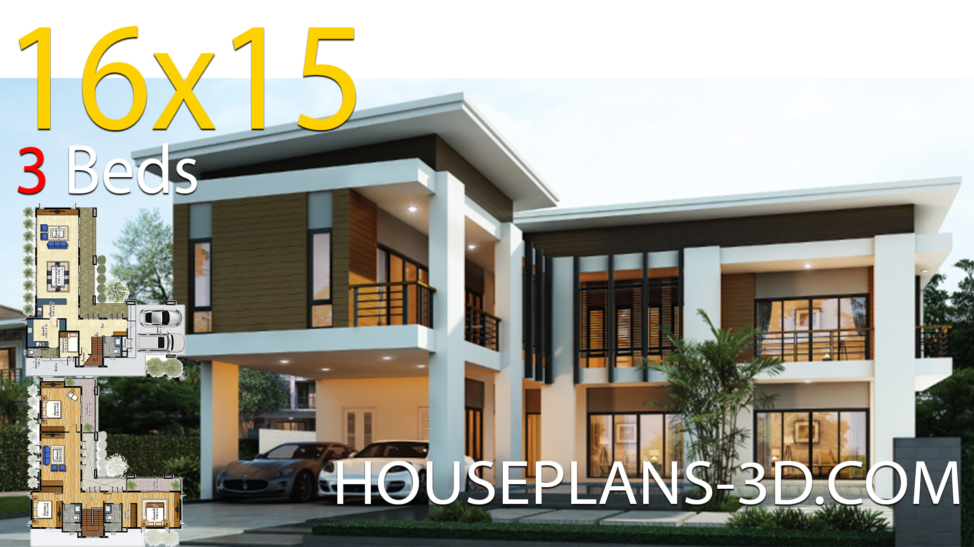 House design 16×15 with 3 bedrooms