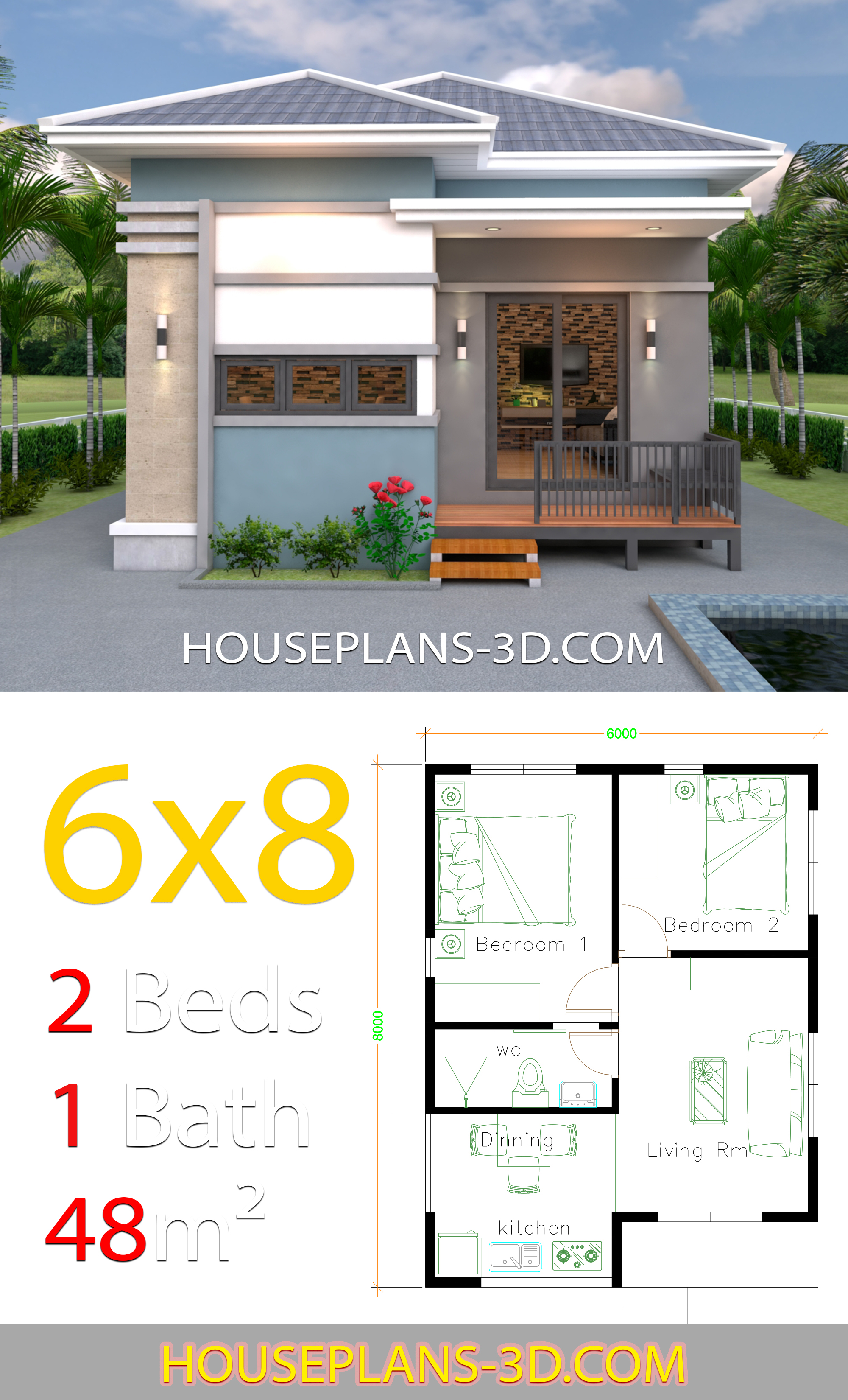 House Design 6x8 with 2 Bedrooms Hip roof - House Plans 3D