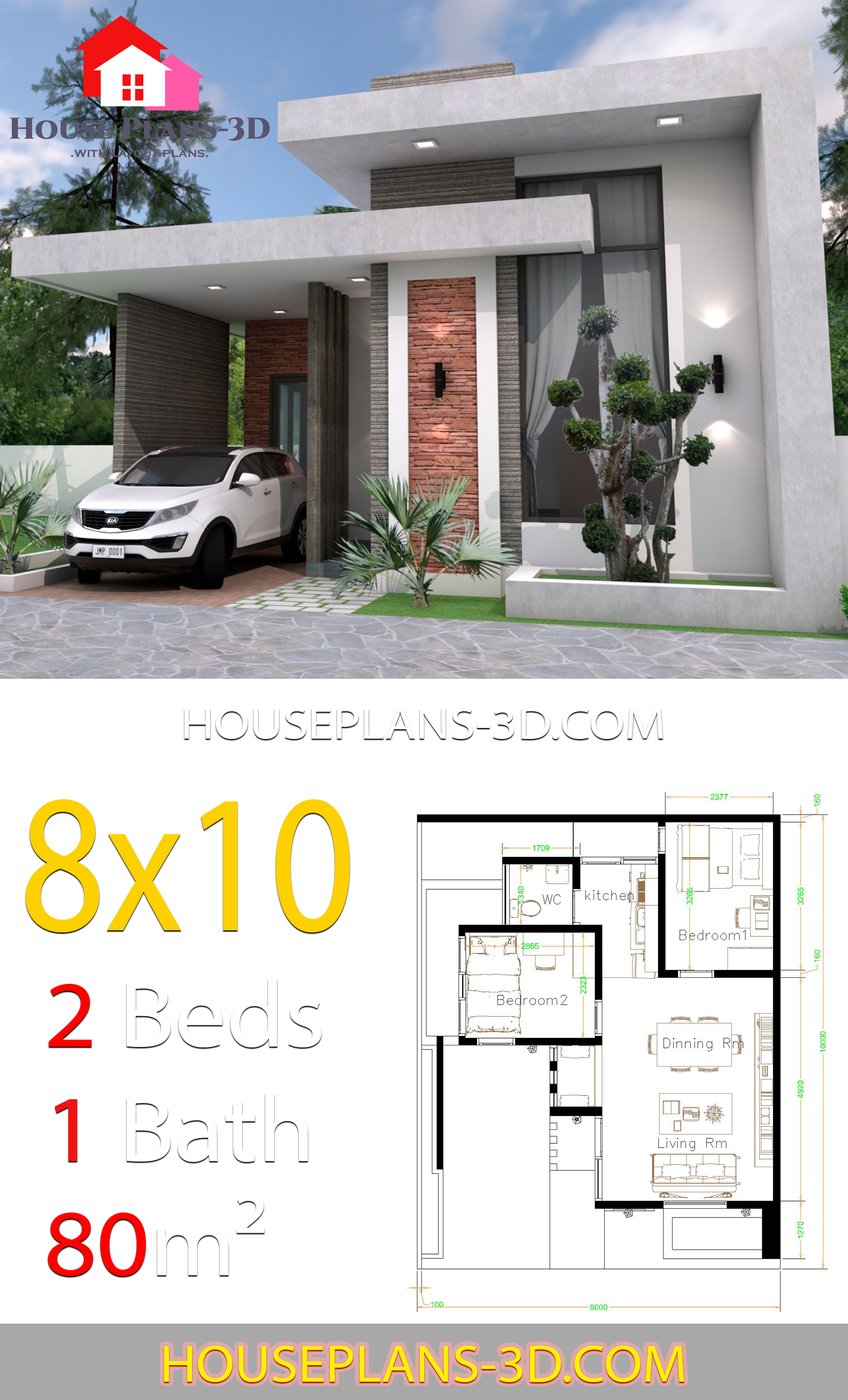 House design 8x10 with 2 Bedrooms Terrace roof - House ...