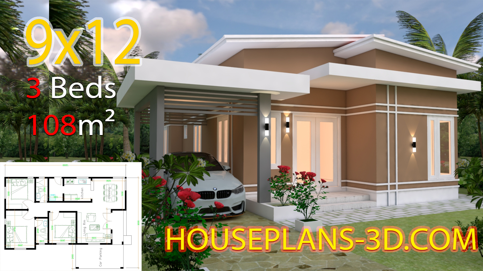 House design 9x12 with 3 bedrooms slop roof - House Plans 3D