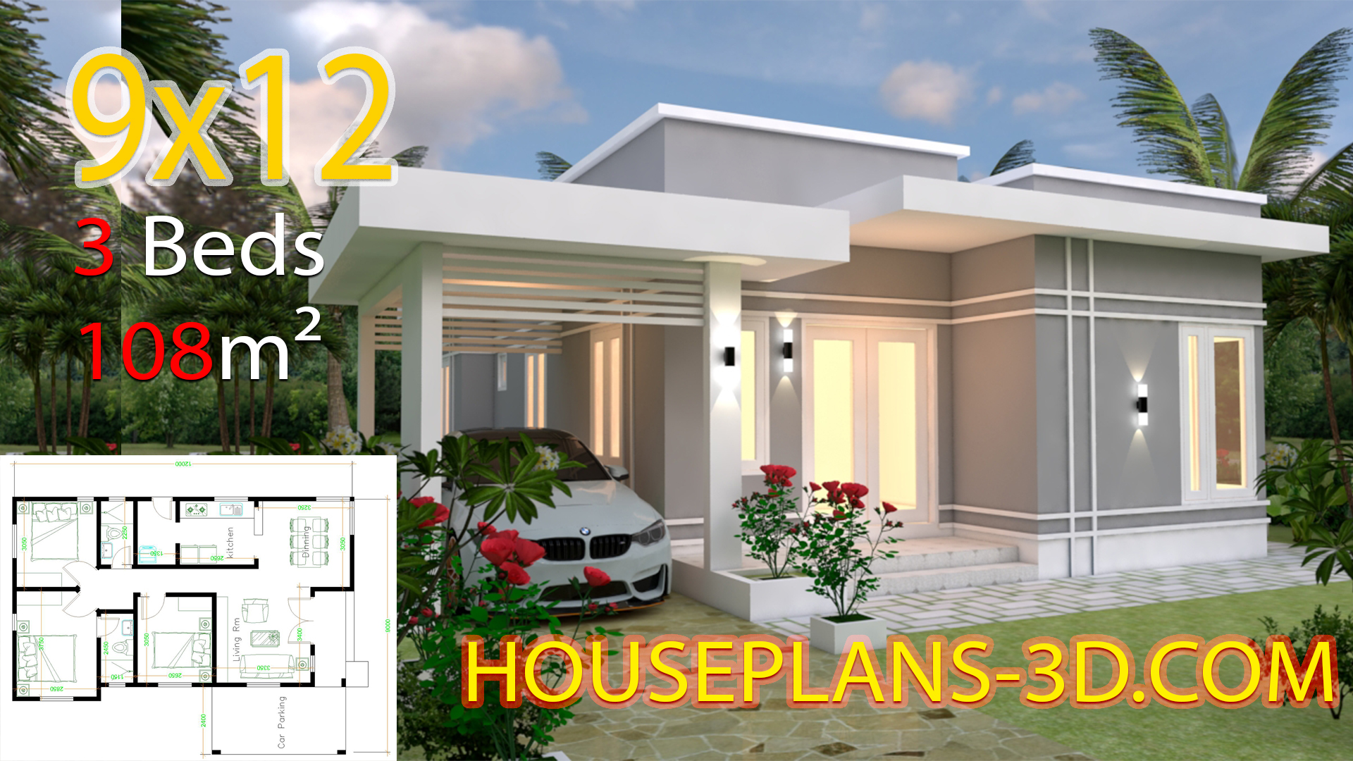 House Design Plans 9x12 With 3 Bedrooms Terrace Roof House Plans 3d