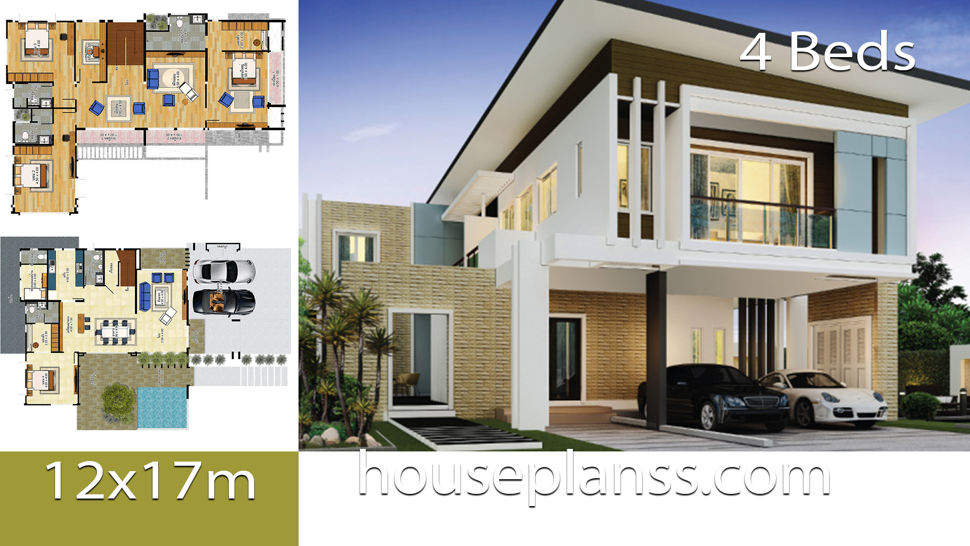 House design idea 12×17 with 4 bedrooms