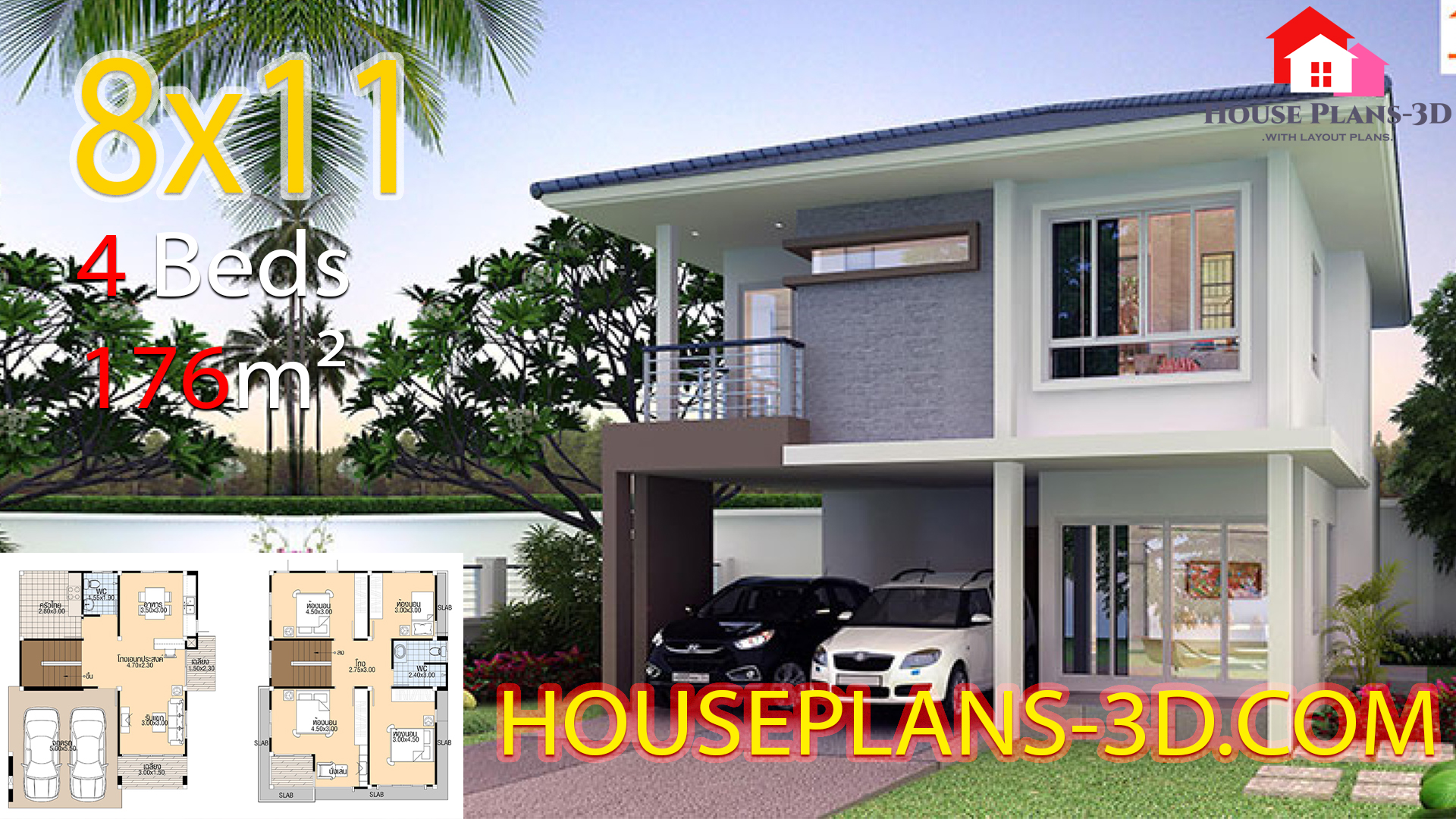 House plans 3d 8×11 with 4 bedrooms
