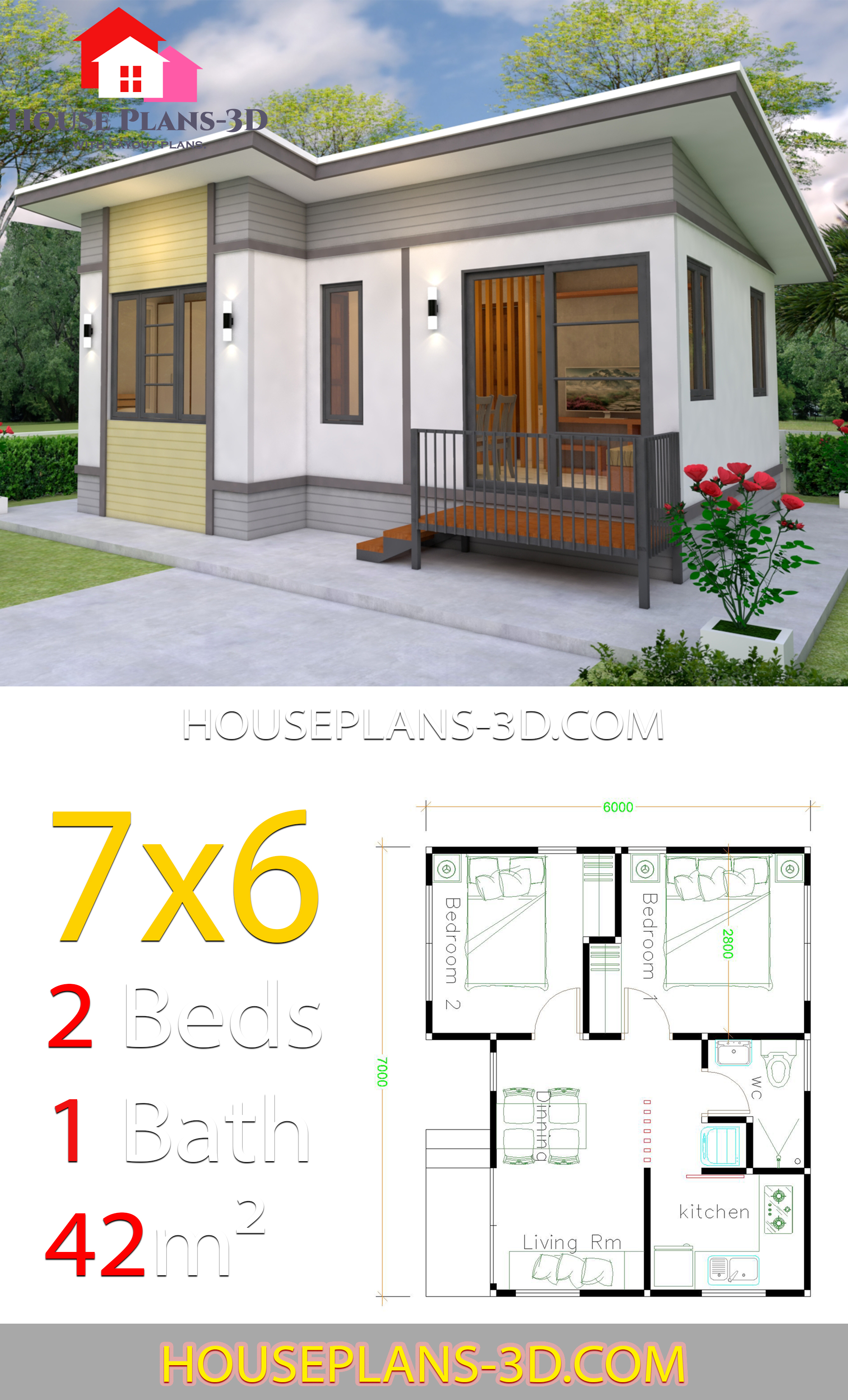 Small House plans 7x6 with 2 Bedrooms - House Plans 3D