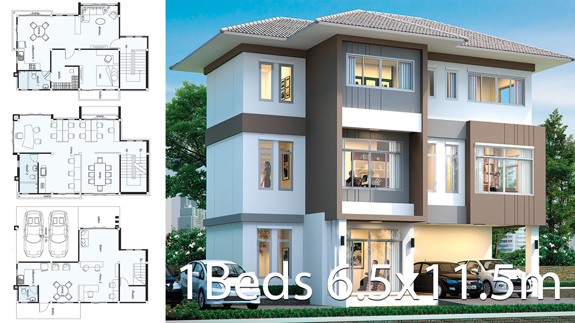 Office House design plan idea 6.6×11.5m