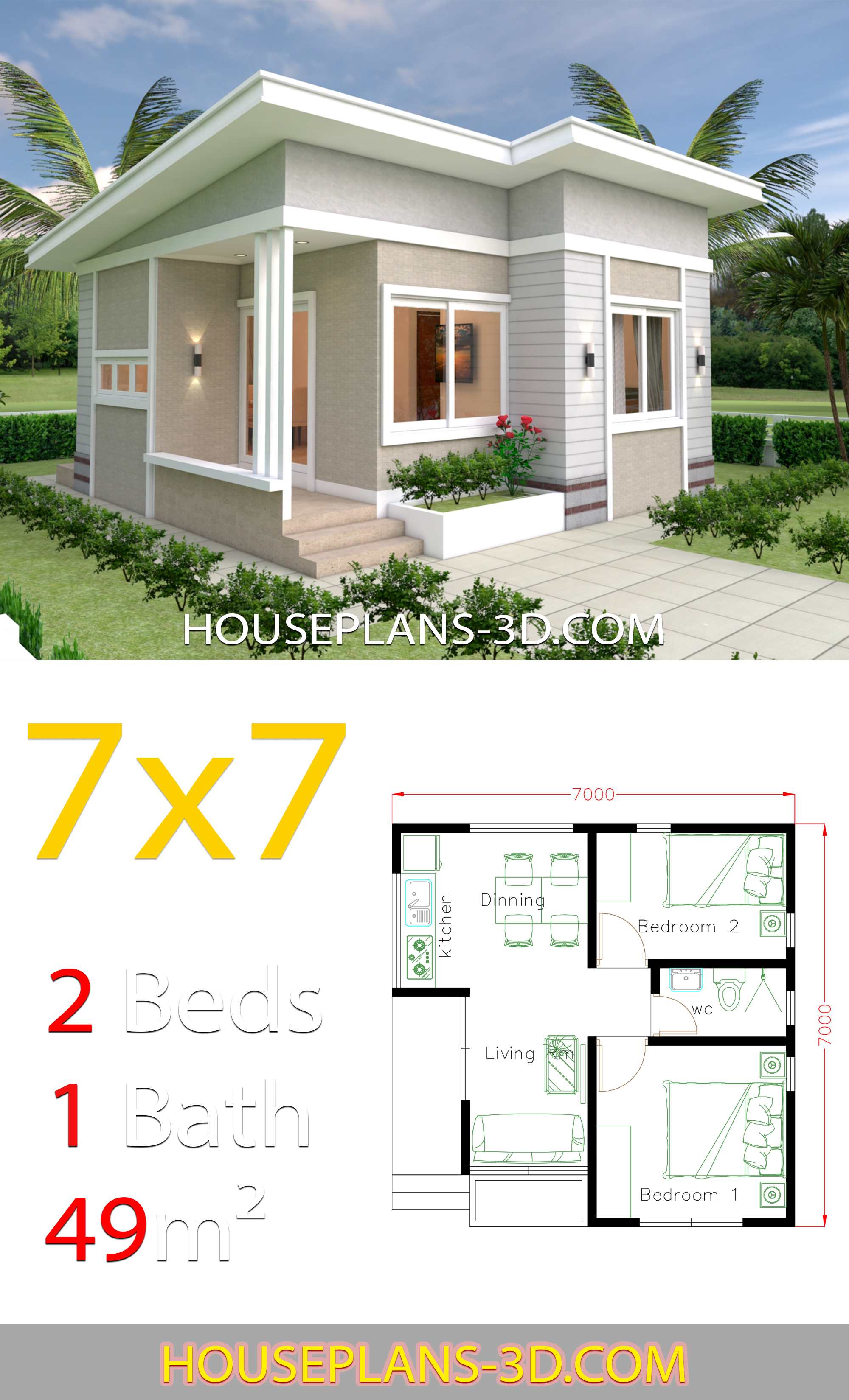 Small House Design 7x7 with 2 Bedrooms 2 - View Small Three Bedroom House Design Gif