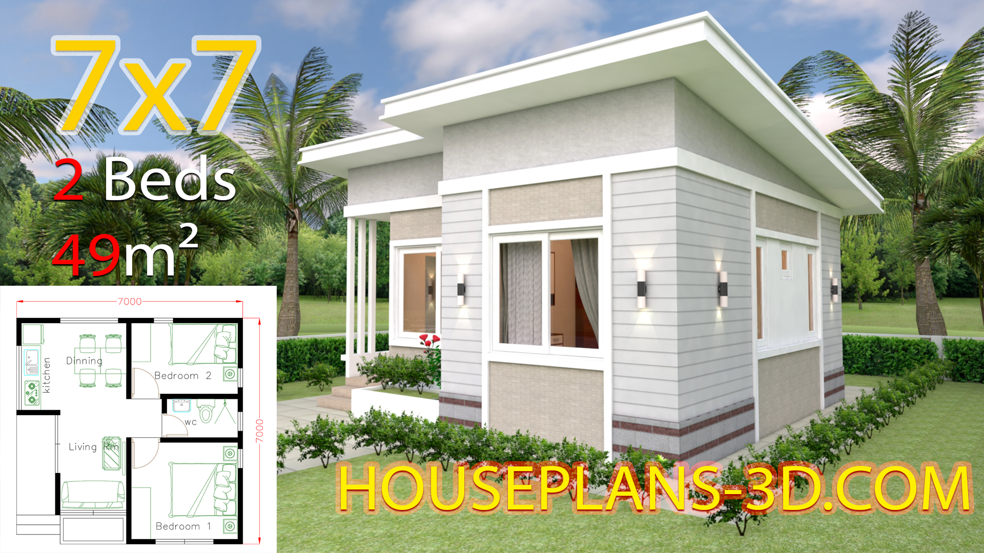 Small House Design 7x7 With 2 Bedrooms House Plans 3d