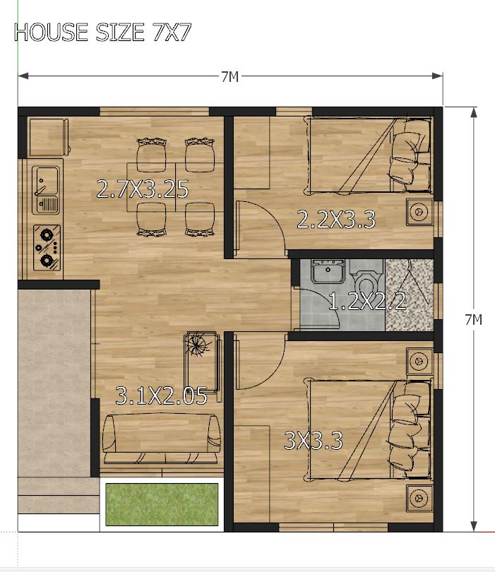 Small House Design 7x7 with 2 Bedrooms - House Plans 3D