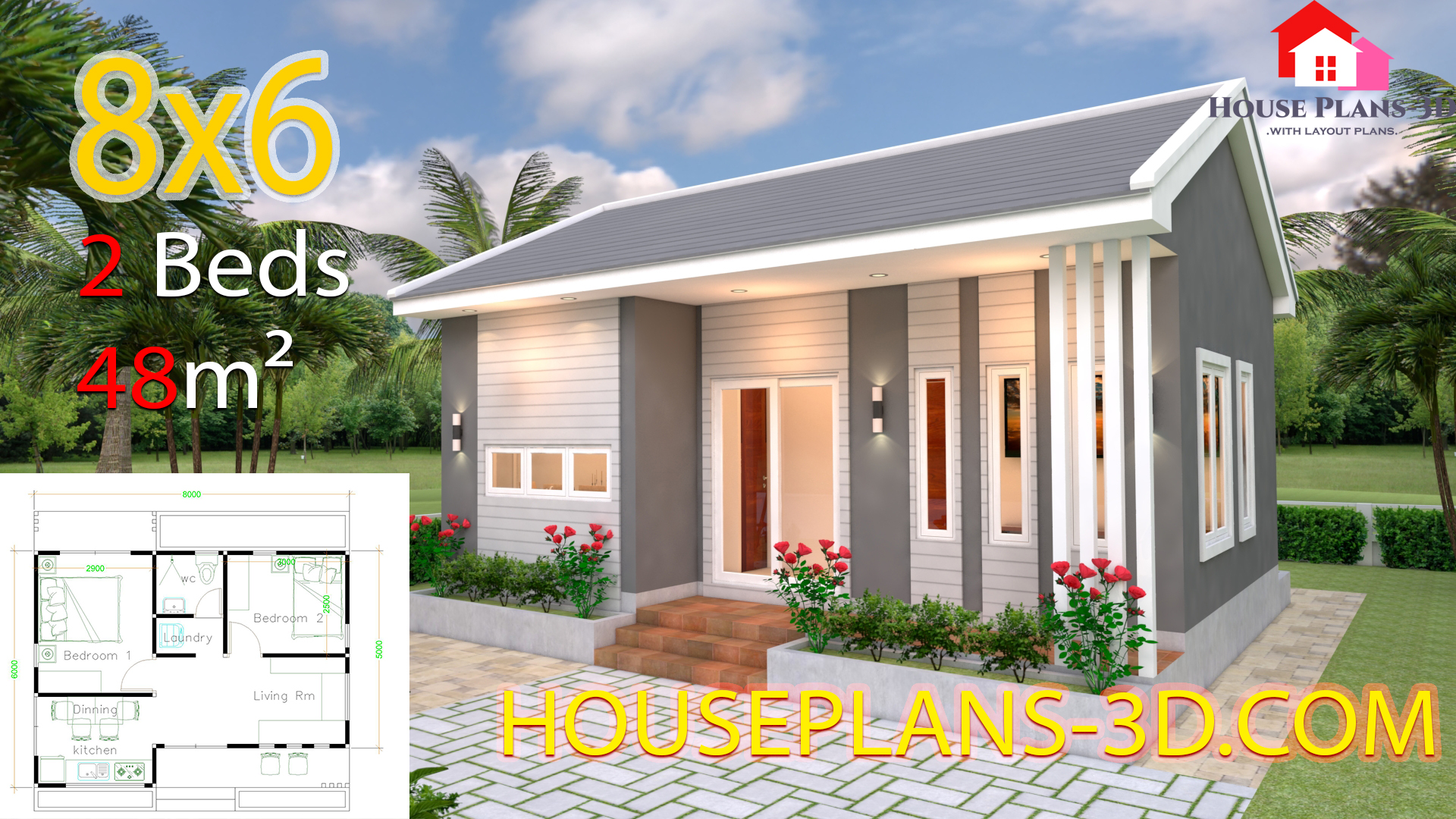 House Design Plans 8x6 with 2 Bedrooms - House Plans 3D