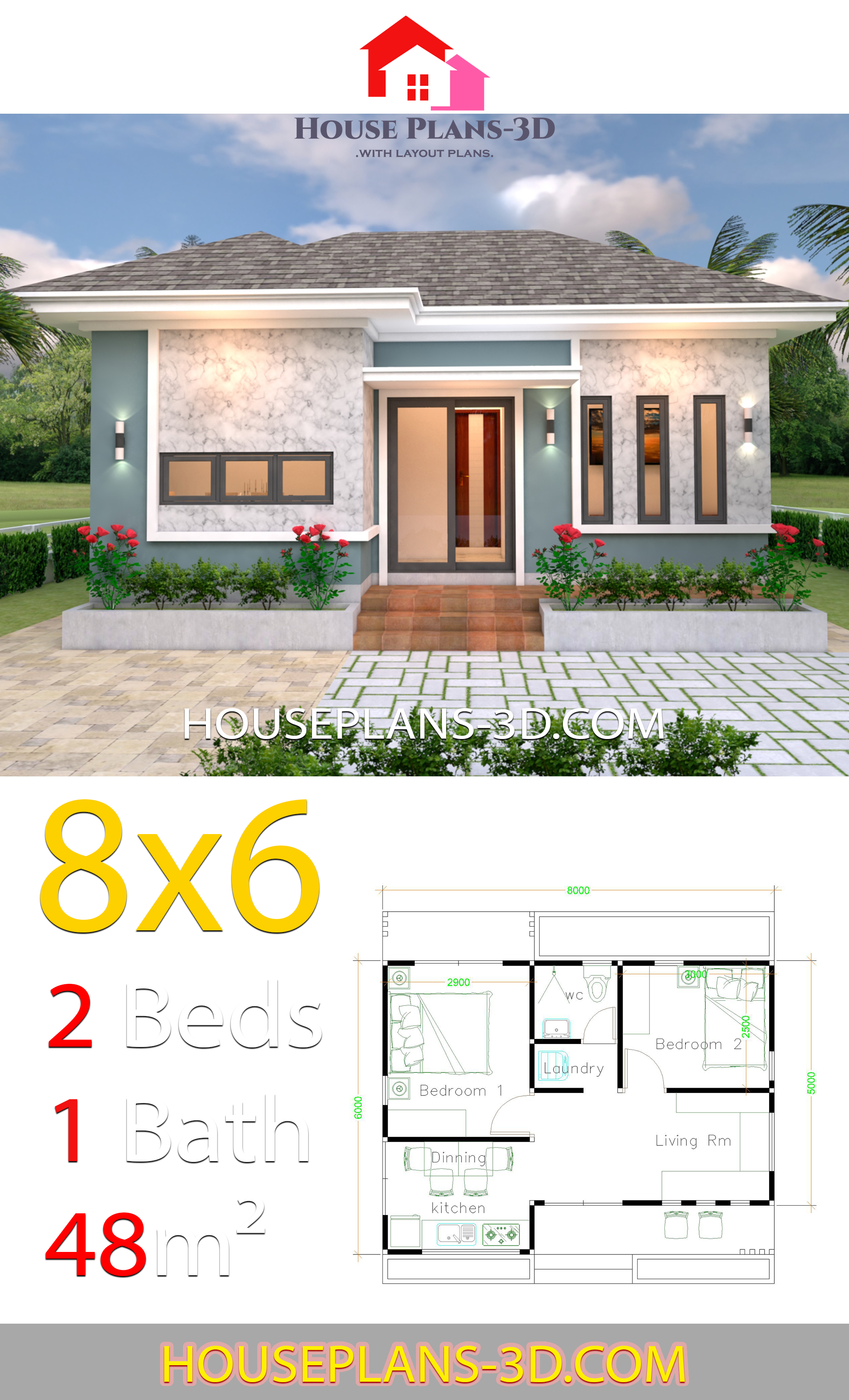 House Plans 3d 8x6 with 2 Bedrooms Hip roof - House Plans 3D