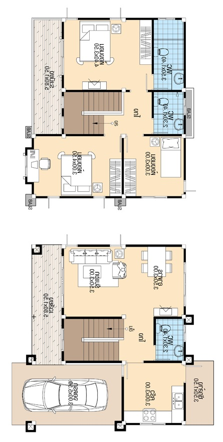 House Design 8 8x8 5 With 3 Bedrooms House Plans 3d
