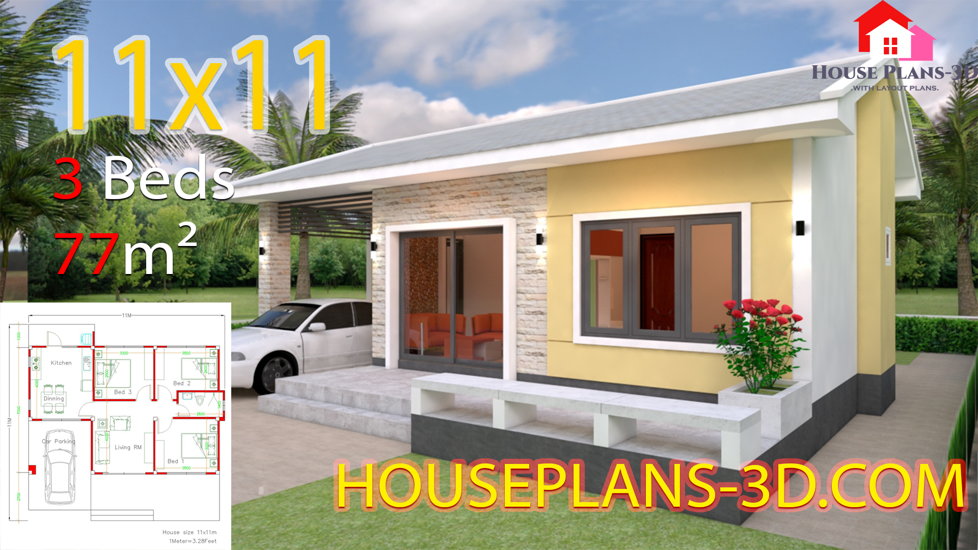 Simple House Design Plans 11x11 with 3 Bedrooms - House Plans 3D
