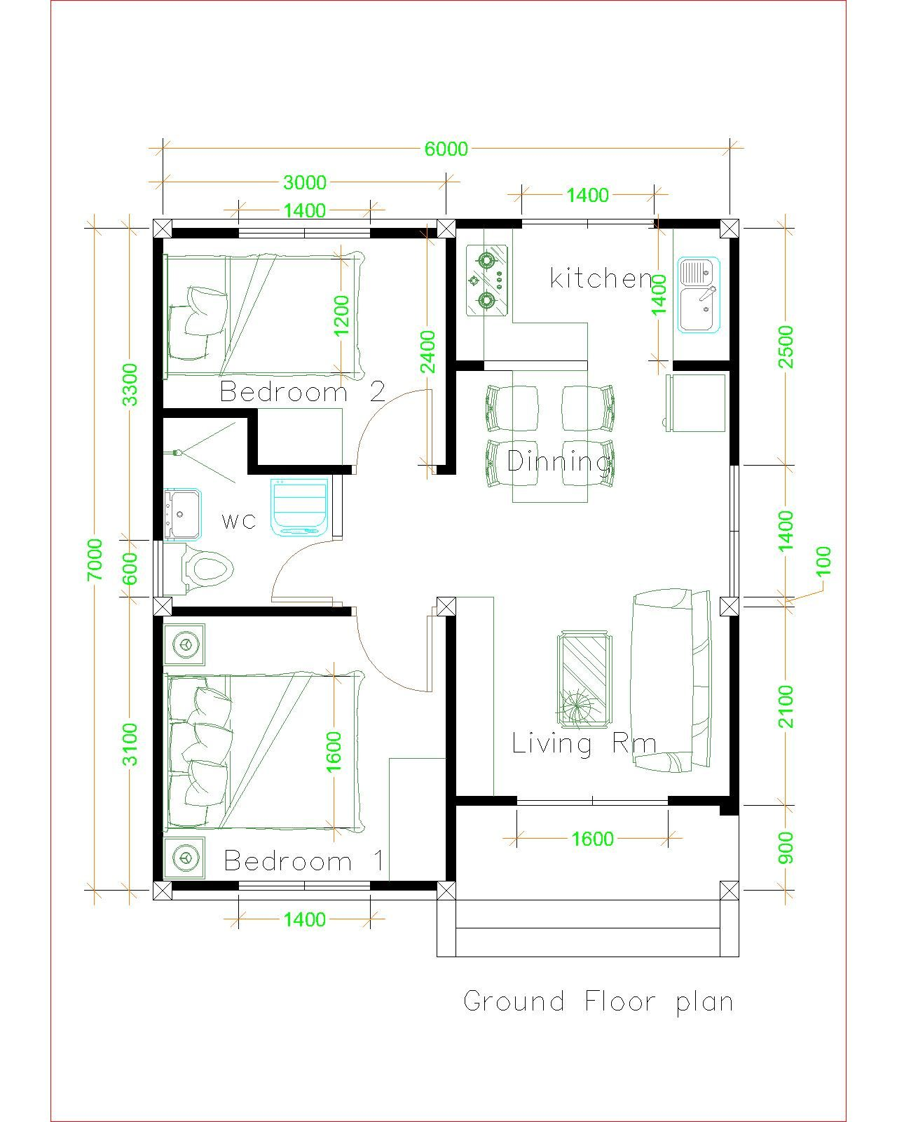 Simple House Plans 6x7 with 2 bedrooms