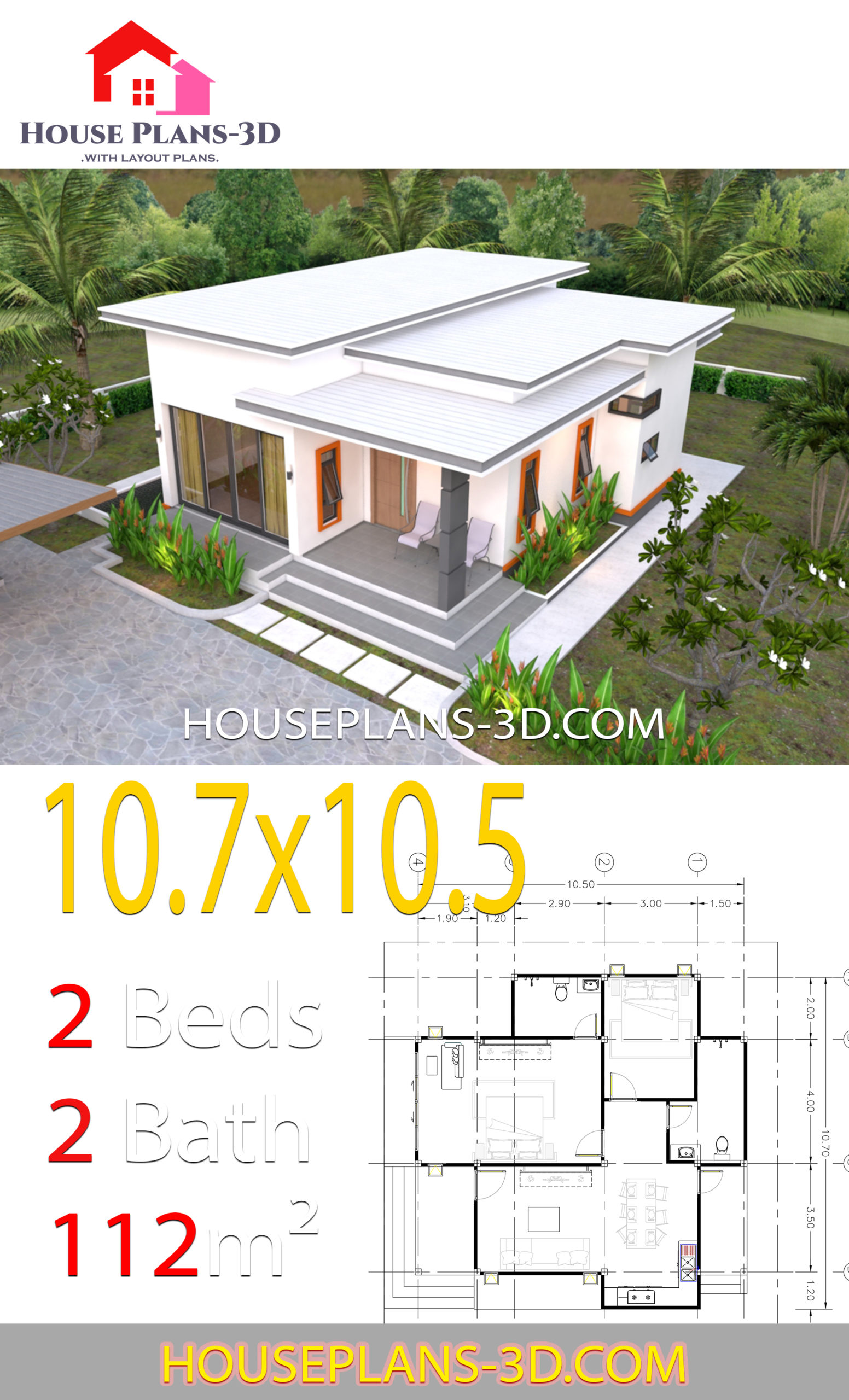 House Plans 10 7x10 5 With 2 Bedrooms Flat Roof House