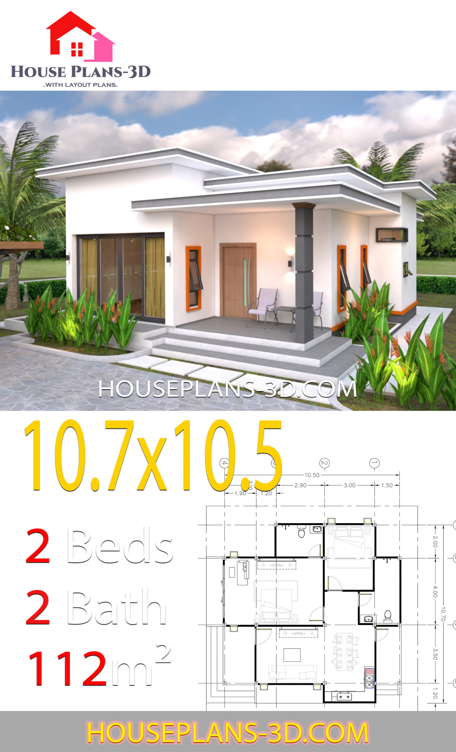 House Plans 10 7x10 5 With 2 Bedrooms Flat Roof House Plans 3d