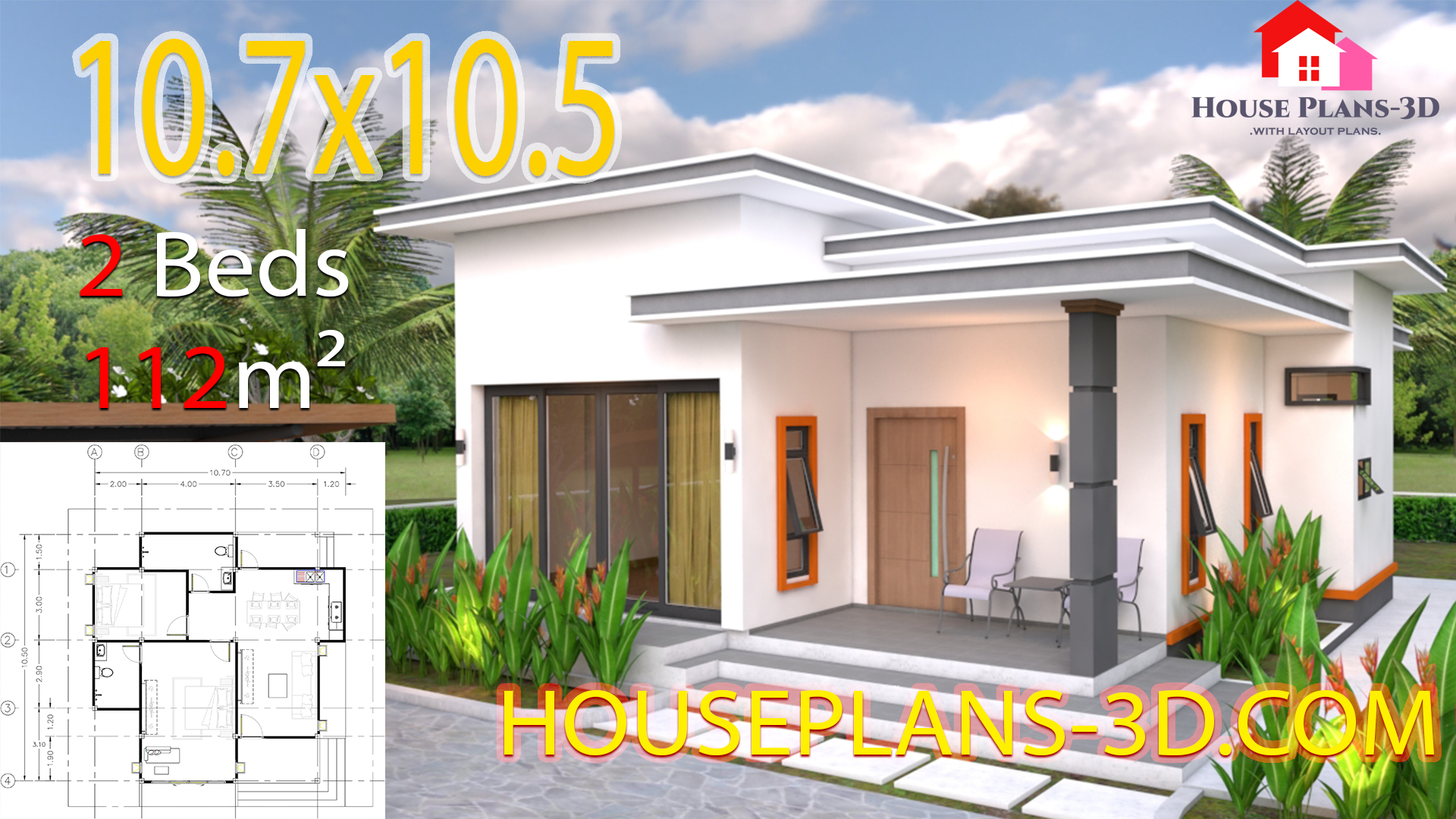 House Plans 10.7x10.5 with 2 Bedrooms Flat roof - House ...
