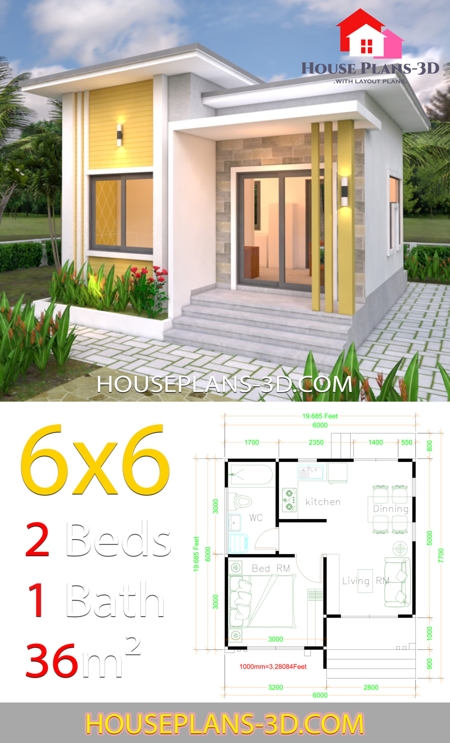 House Plans 6x6 With One Bedrooms Flat Roof House Plans 3d