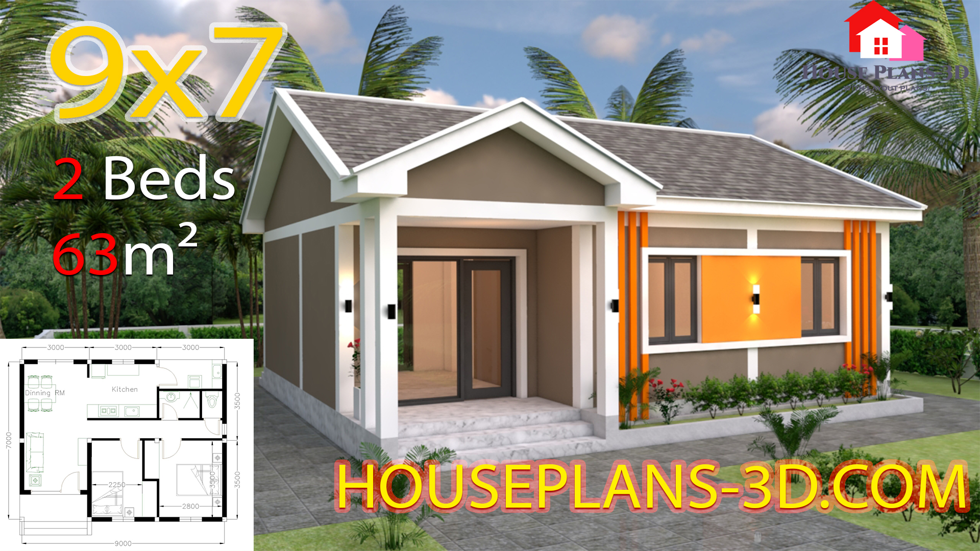 House Plans 9x7 With 2 Bedrooms Gable Roof House Plans 3d