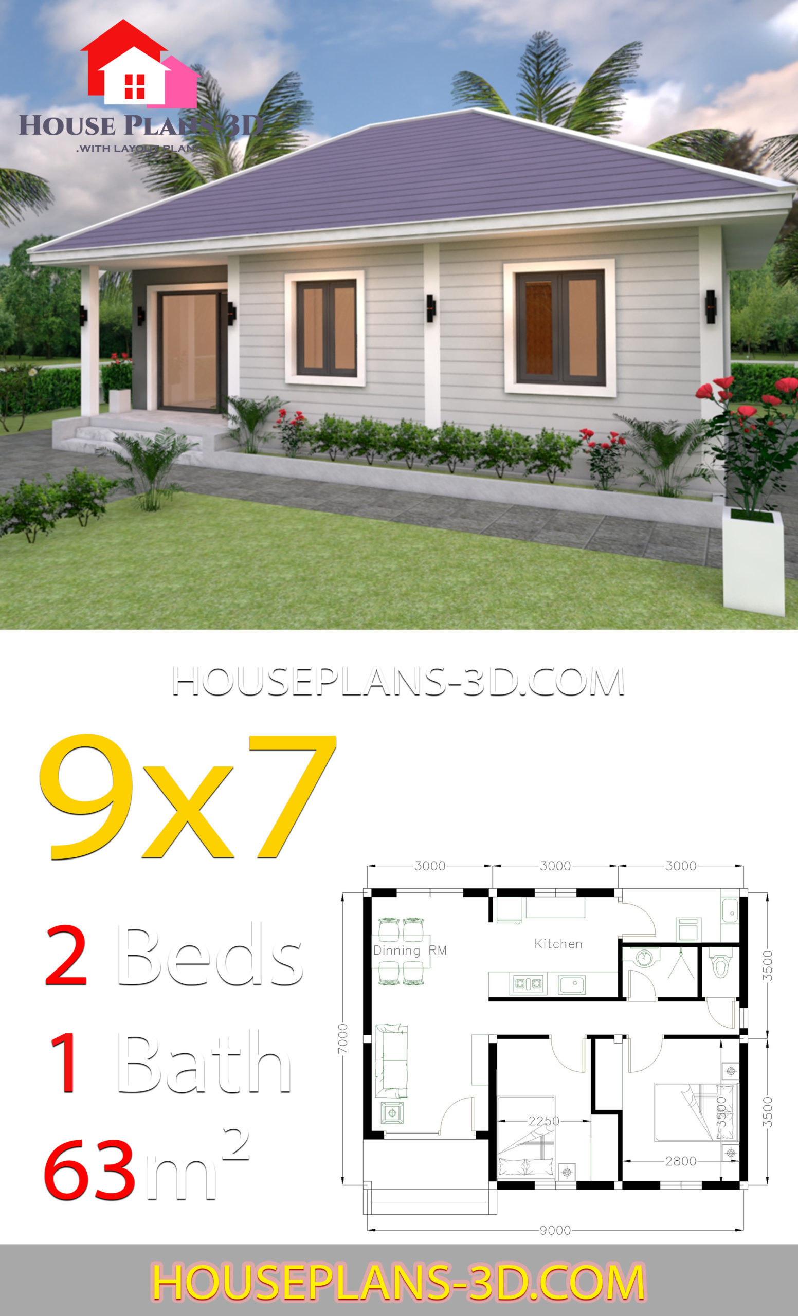 House Plans 9x7 With 2 Bedrooms Hip Roof House Plans 3d