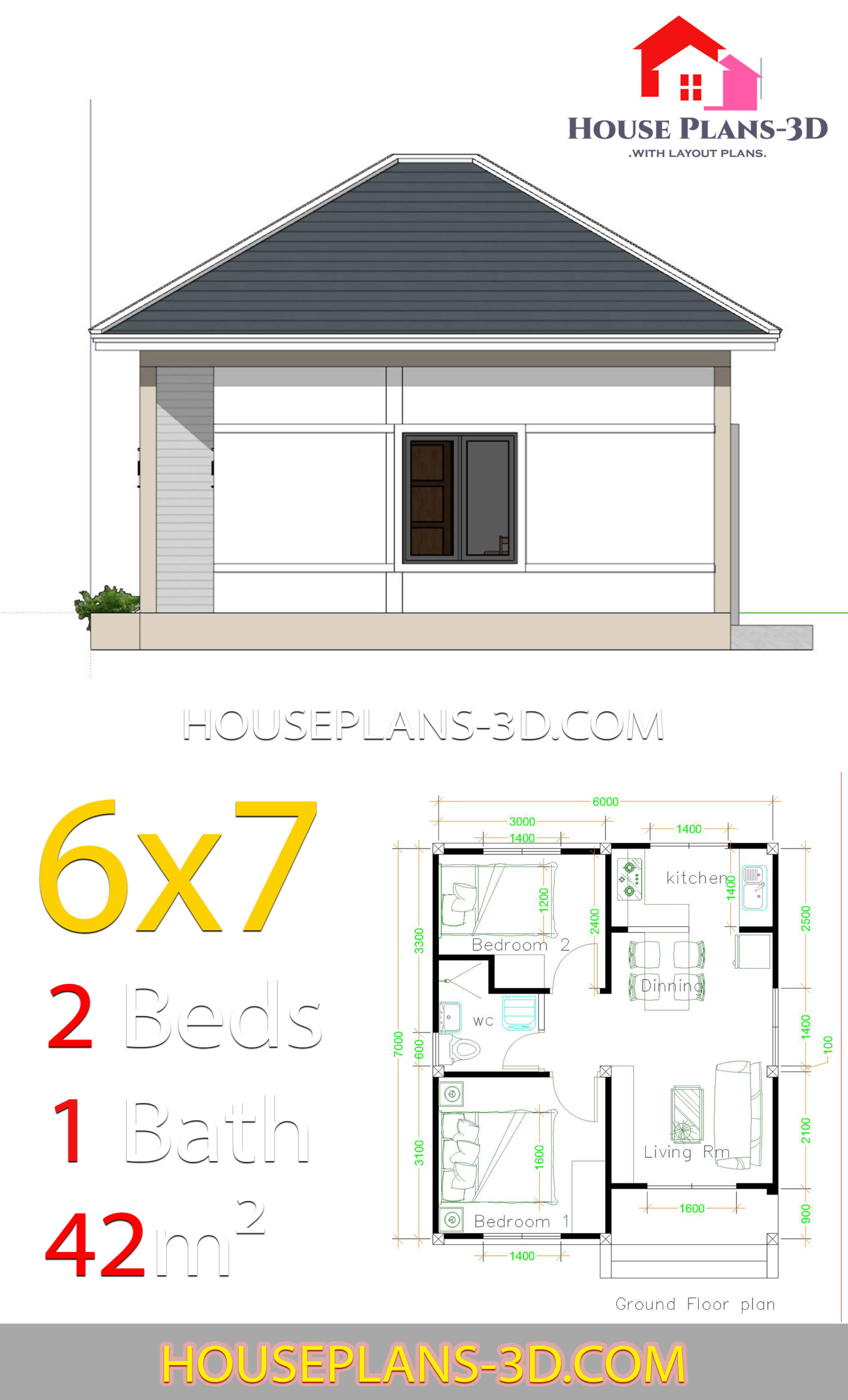 Simple House Plans 6x7 with 2 bedrooms Hip Roof - House ...