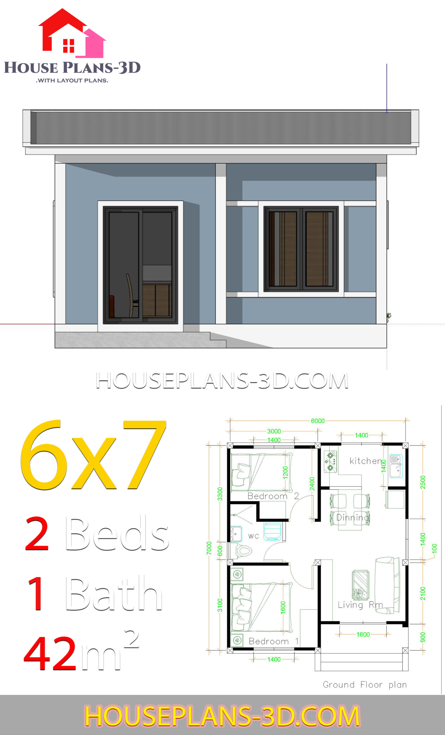 Simple House Plans 6x7 With 2 Bedrooms Shed Roof House Plans 3d