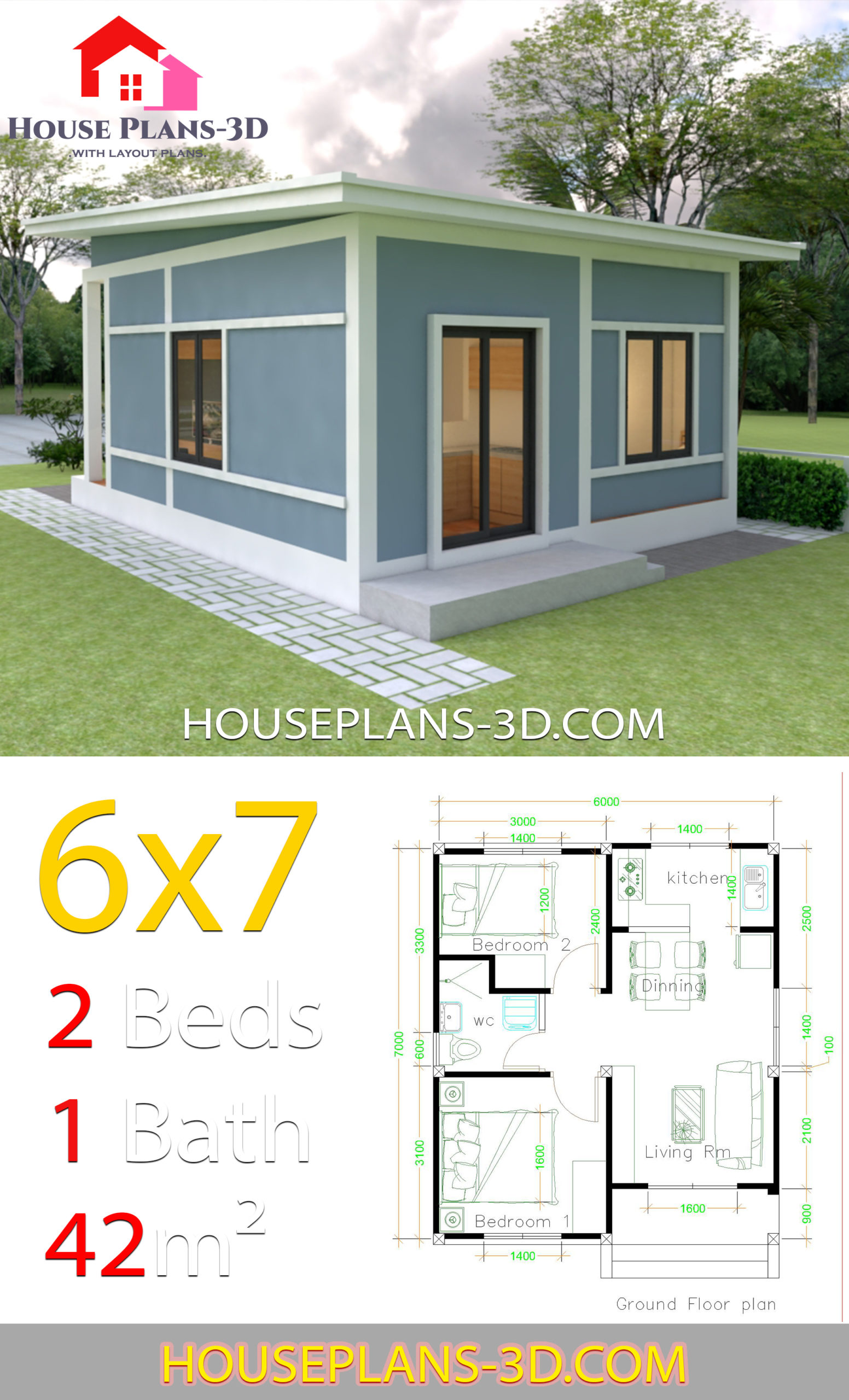 Simple House Plans 6x7 with 2 bedrooms Shed Roof - House ...