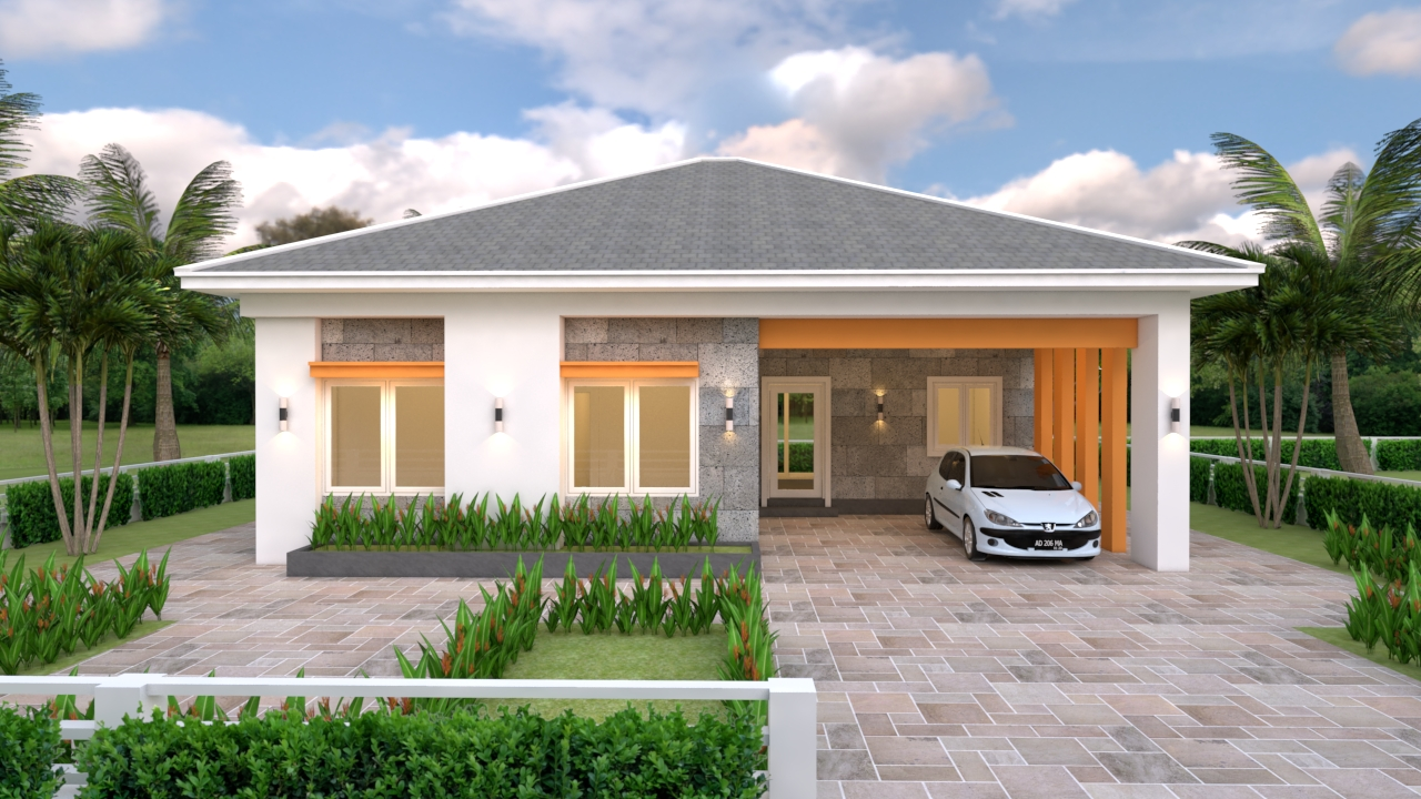 House Plans 12x11 With 3 Bedrooms Hip Roof House Plans 3d