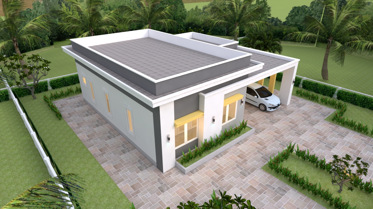 House Plans 12x11 With 3 Bedrooms Slap Roof House Plans 3d